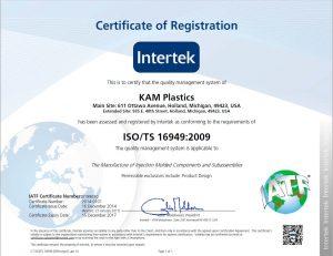 KAM Plastics ISO/TS Certification
